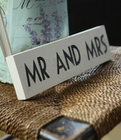shabby chic mr and mrs sign