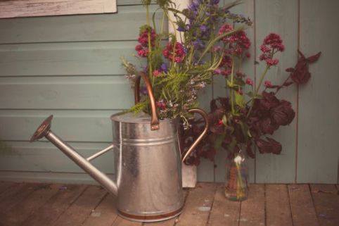 shabby chic wedding watering can © - Christy Blanch Photography