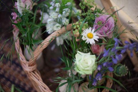 wicker basket wedding flowers