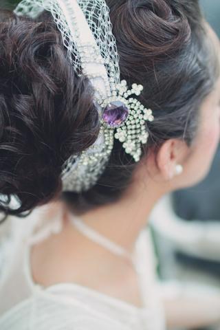 purple bridal headdress