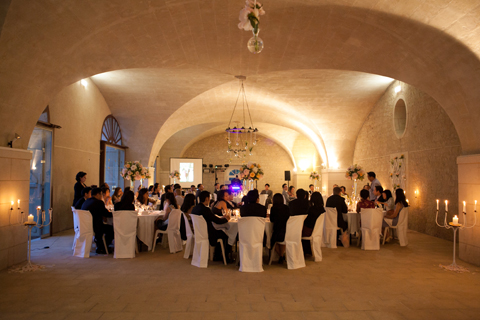 french cave wedding reception