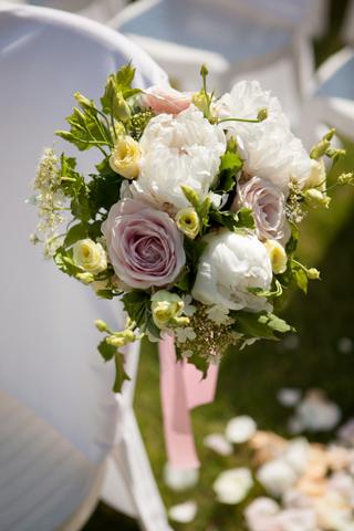 mauve aisle flowers