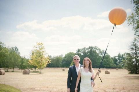 orange balloon wedding