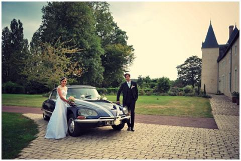 retro wedding car france