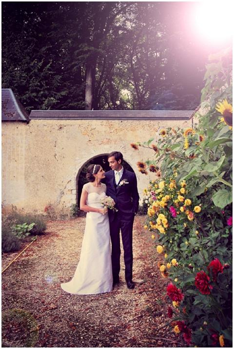Rustic wedding in flower garden