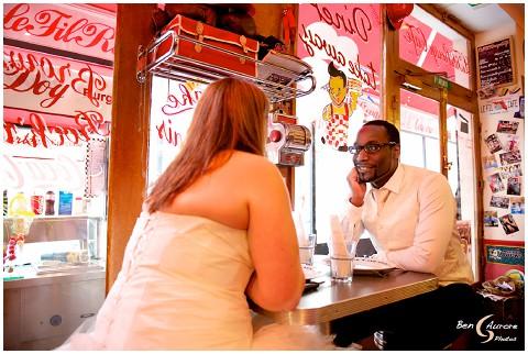 retro cafe paris wedding