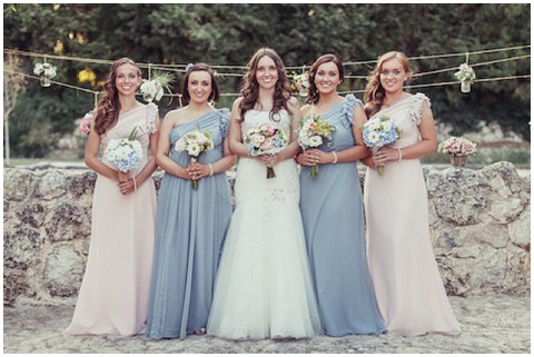 Blue white bridesmaids