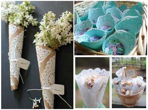 confetti cone doilies