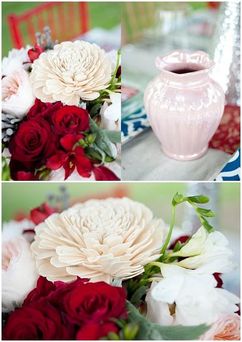 jessica maida red white wedding flowers