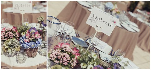 lavender and rose rustic tables