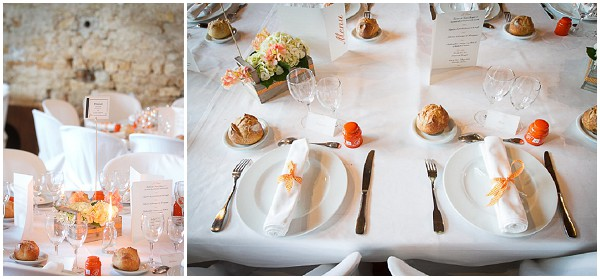 white orange wedding