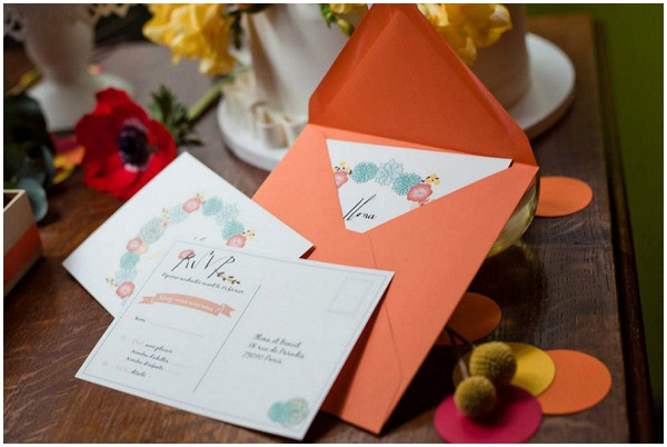 orange wedding stationery