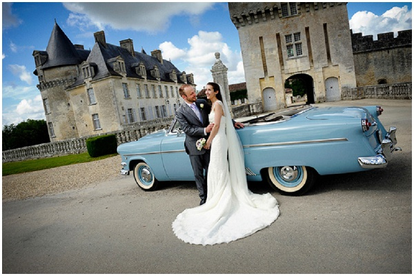 vintage american wedding car