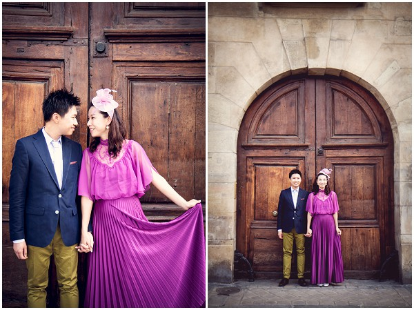 engagment photography paris - raidant orchid dress