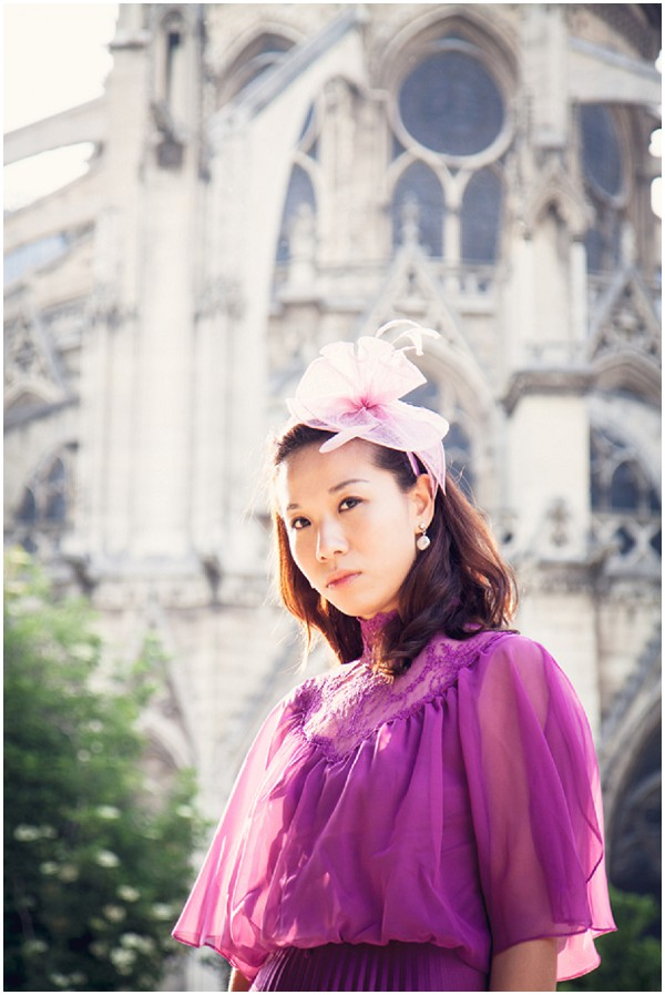 hong kong bride to be in paris - radiant orchid dress