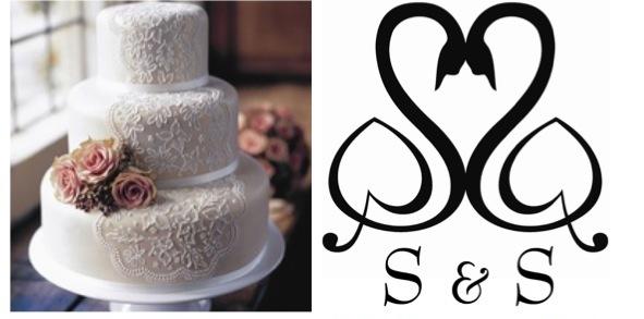 swans and wedding cake