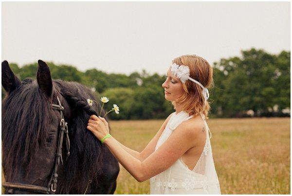 boho bride horse