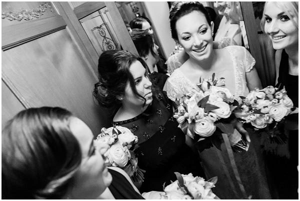 bridesmaids in lift
