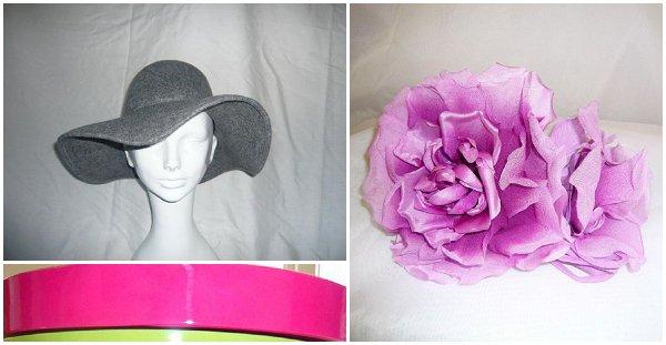 grey pink hat