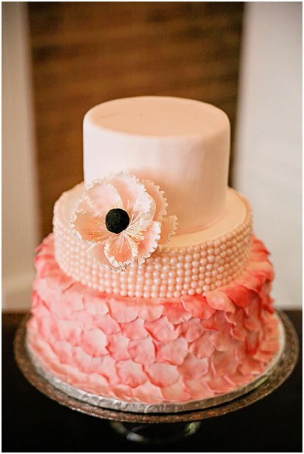 pink peach ruffle wedding cake