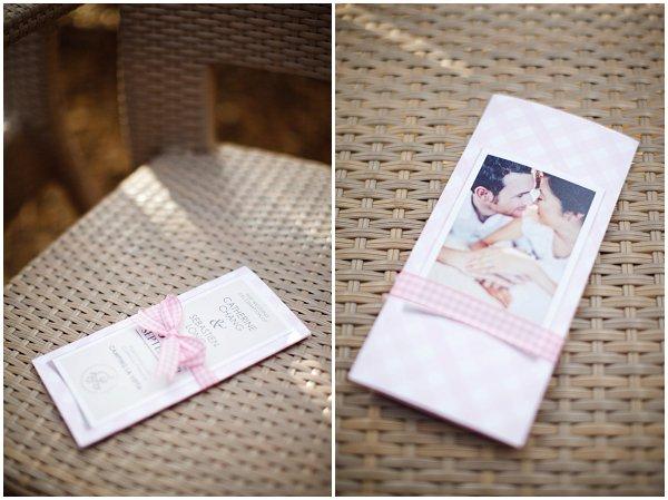 pink white wedding stationery