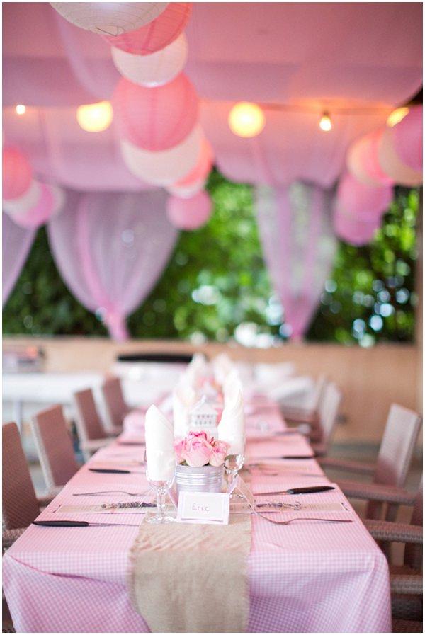 pink white wedding lanterns