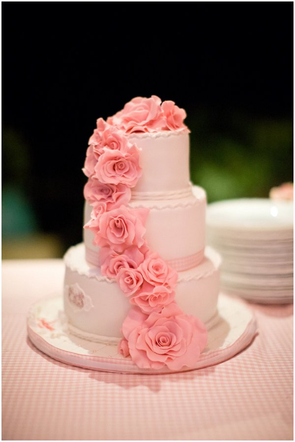 romantic pink wedding cake