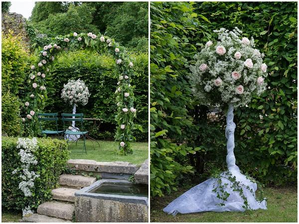 flower ball wedding aisle