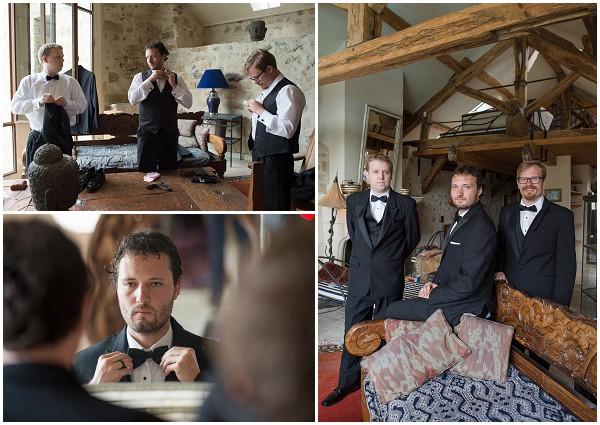 groom preparations black tie