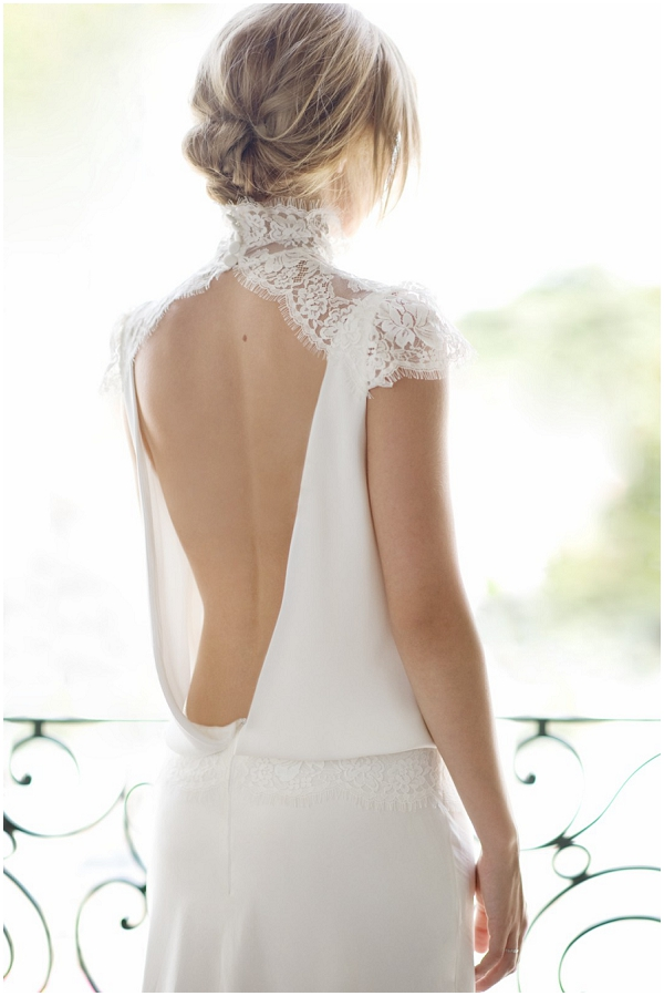 low back french weddng dress