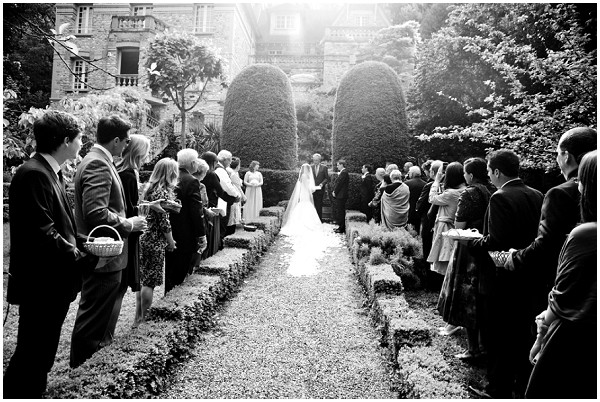 Fairytale Bridal Style Brides Garden Enterance Outside Ceremony Bride Groom Holding Hands Paris Countryside Wedding