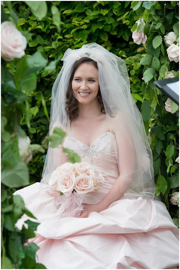 pink bride veil