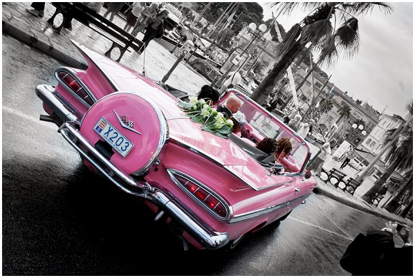 pink wedding cadillac