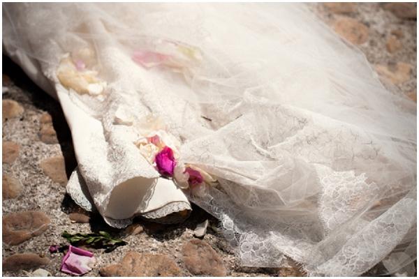 wedding dress petals