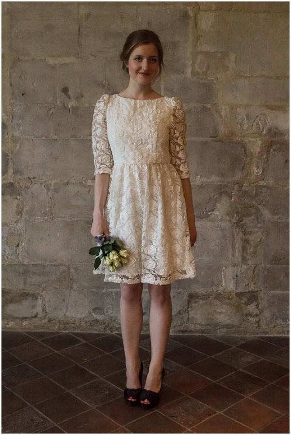french short lace wedding dress