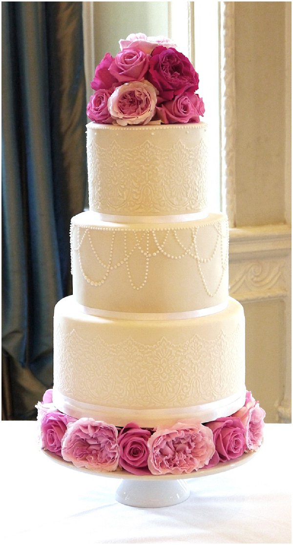 Draped pearl wedding cake from Cakes by Beth on French Wedding Style