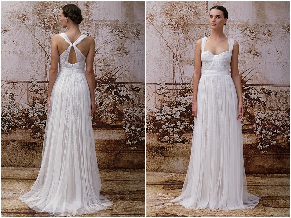 Boho style wedding dress by Monique Lhuillier