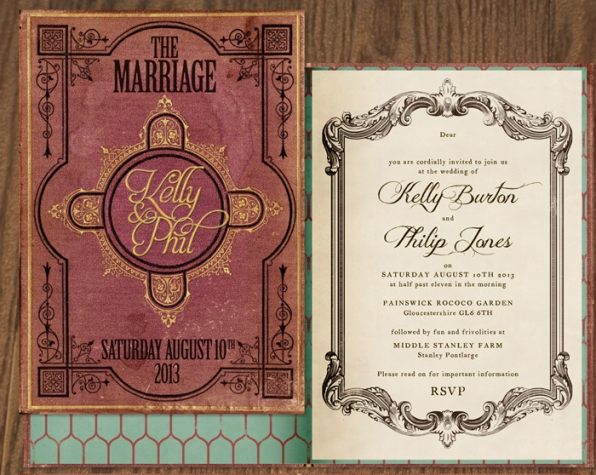 book style wedding invite