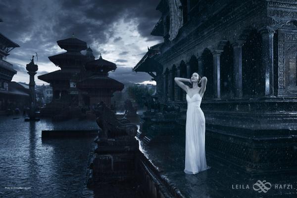 dramatic wedding dress shoot