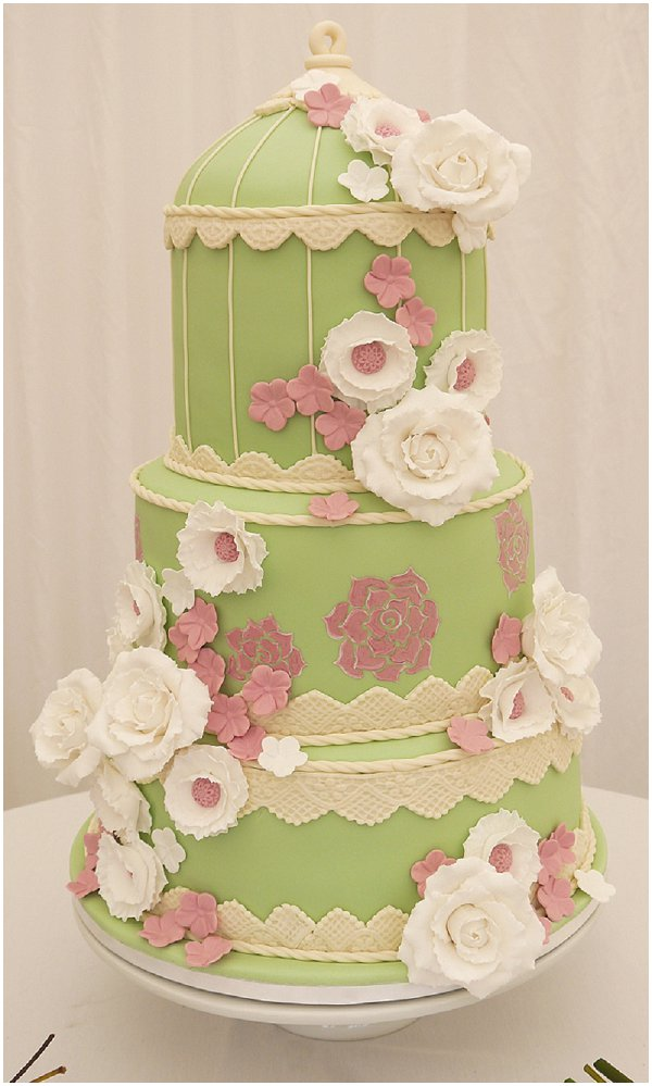 pistachio birdcage wedding cake