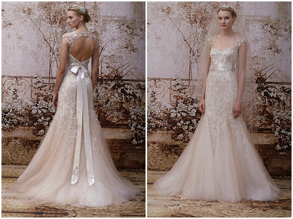 Blush wedding dress Monique Lhuillier