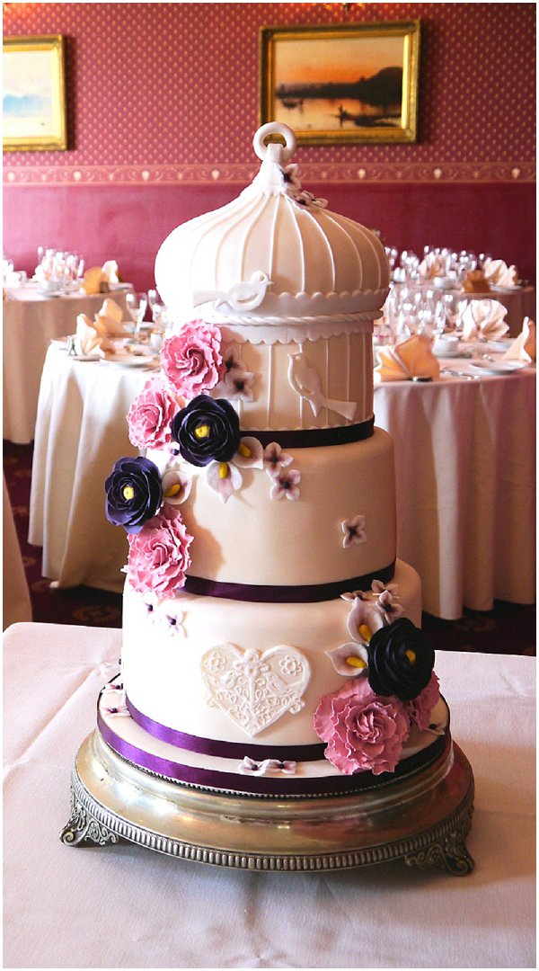 pink birdcage wedding cake