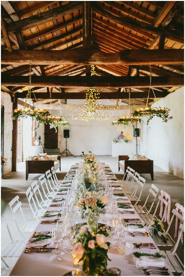 Rustic wedding reception setting