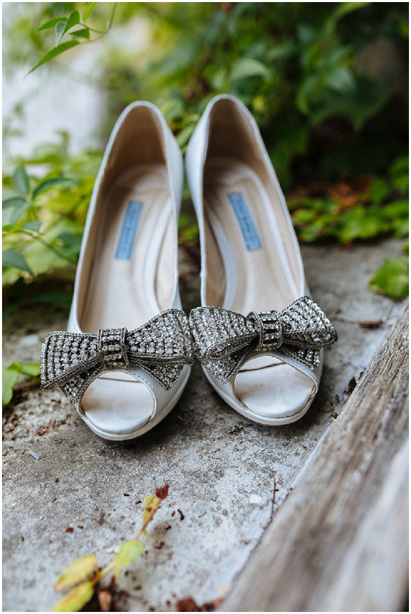 silver bow bridal shoes