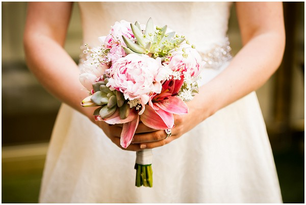 succulent bridal bouquet  in pink