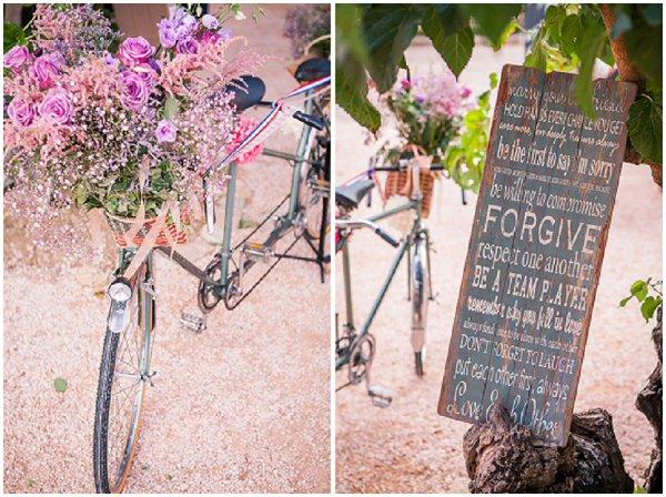 vintage bike as a wedding prop