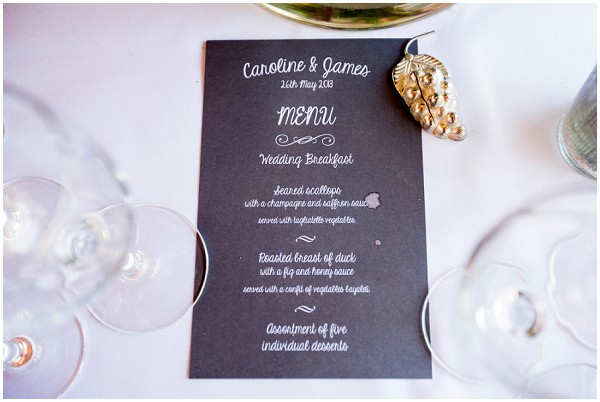 Wishing Tree Rustic French Wedding Reception Bunting Black White Menu