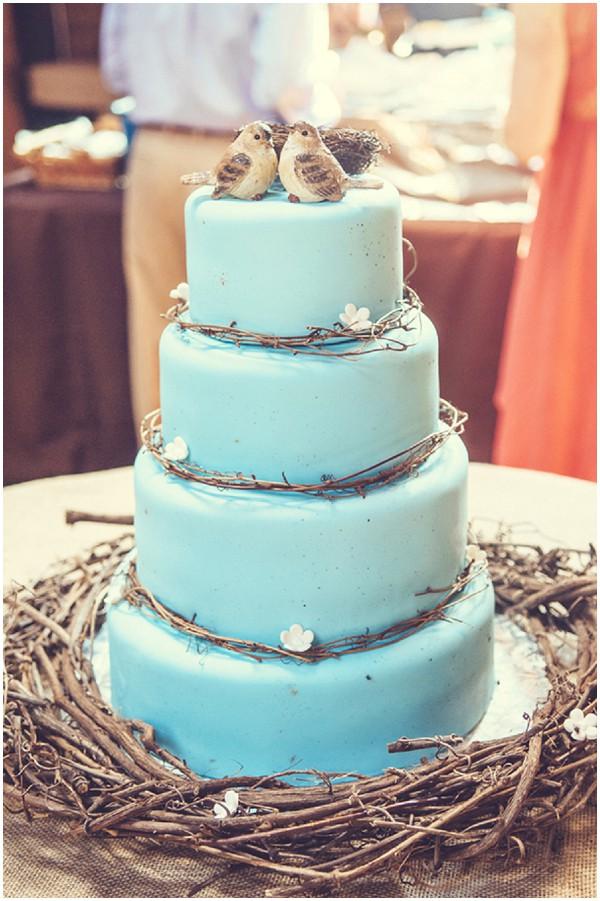 blue rustic wedding cake
