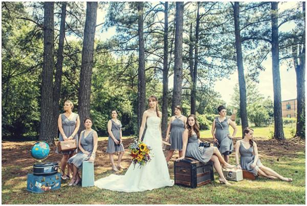 bride bridesmaid travel theme