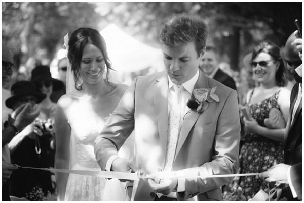 cutting wedding ribbon